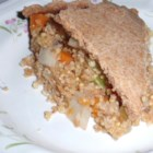 Millet Pie - Millet and oats are tossed with tamari, potatoes, and carrot and sandwiched between two pie crusts for a savory and flavorful millet pie.