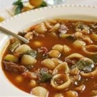 Minestrone Soup II - This is an extra rich and savory minestrone with bacon, ground beef, red wine, and condensed onion soup.  Garbanzo beans, spinach, zucchini, carrots, and celery add nutrition and visual appeal.