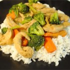 Chicken Stir-Fry - This chicken stir-fry is a little spicy and a little sweet. Fresh ginger and garlic add a little kick, which is balanced with brown sugar. Though the recipe calls for bell peppers, water chestnuts, and broccoli, try it with any vegetable you like!
