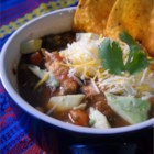 The Aztec Five-Step - A flavorful, meaty chicken stock is served over sauteed vegetables and fried cubes of potatoes in this stew seasoned with epazote, cumin and oregano.  Garnish with avocado,  tortilla chips and grated jack cheese.
