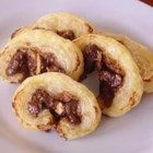Hazelnut Palmiers - Frozen puff pastry and Nutella(R) make wonderful, flaky cookies in a snap.