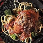 Chicken Parmesan with Linguine and Broccoli - Coated with grated Parmesan topping then browned, chicken breasts are simmered in tomato sauce with mushrooms, topped with mozzarella cheese, and served with linguine and broccoli--a complete dinner in 38 minutes!