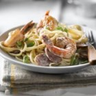 Cajun Poached Shrimp Linguine - Spicy Cajun flavours kick up this easy sauce, and cream adds smoothness to the heat of the dish. Look for smoked sausages where they sell bacon and other deli meats in the grocery store.