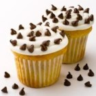 Mini Chip White Cupcakes - New Ghirardelli Mini Chips are the perfect topping to these luscious white cupcakes!