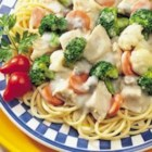 Campbell's(R) Healthy Request(R) Chicken and Pasta Primavera - Cheesy broccoli sauce, tender egg noodles and chicken are stirred together for a delicious, one-dish supper.