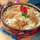 One Dish Chicken and Rice Bake - Chicken and rice paired with a creamy mushroom sauce bake together for a delicious one-dish meal that's easy to clean up.