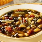 White Bean with Fennel Soup - Hearty Mediterranean flavors are featured in this main-dish soup featuring Swanson(R) Vegetable Broth brimming with white kidney beans, sliced fennel, spinach, chopped onion, garlic and diced tomato.