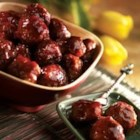 Savory Glazed Meatballs - Tiny meatballs in a sweet-savory glaze of jelly and chili sauce make a festive hors d'oeuvre for a holiday party.