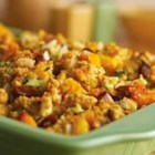 Roasted Vegetable and Cornbread Stuffing - Just one bite of this mouthwatering stuffing is all you'll need to prove that roasting the veggies is absolutely worth it . . . plus the veggies provide the perfect complement to the flavorful chorizo.