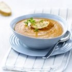 Roasted Sweet Onion and Tomato Soup with Cheese Crouton - Roasting the vegetables creates a depth of flavour in this soup, and the cream adds a wonderful velvety texture.