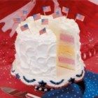 Fourth of July Ice Cream Cake - This eye-catching dessert is actually easy to prepare and keeps well in the freezer for days. It's nice to be able to serve cake and ice cream in one slice.                                       --Anne Scholovich, Waukesha, Wisconsin