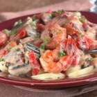 Blackened Shrimp Stroganoff - Cajun seasoned shrimp are combined with shallots, mushrooms, and roasted red peppers in a simple white sauce served over fettuccini.