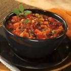 Two Bean Vegetable Chili - Hearty chunks of zucchini, onion, carrots, mushrooms and peppers simmer with red and black beans in a rich Italian sauce.