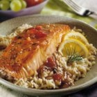 Balsamic Glazed Salmon - Tender baked salmon is topped with a spectacular sauce featuring Swanson(R) Chicken Broth, balsamic vinegar, orange juice and brown sugar.