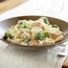 Easy Chicken and Broccoli Alfredo - Fresh broccoli and tender chunks of chicken breast are combined with a creamy sauce flavored with Parmesan cheese and basil, then mixed with hot cooked fettuccine.