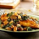 Balsamic Chicken with White Beans and Spinach - This amazing skillet dish brings the flavors of Tuscany right into your own home. Ready in just 35 minutes, it's simple and delicious.