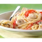 PHILLY Chicken Alfredo Pesto Pasta - Classic, fresh-tasting pesto sauce originated in Italy and is a favorite on pasta and chicken dishes. Here it adds delicious flavor to a simple Alfredo sauce made with cream cheese.