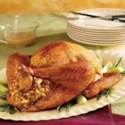 Roasted Dijon and Apple-Glazed Turkey with Fruited Stuffing - Making your first turkey? You can't go wrong with this easy-to-follow recipe that gives you step-by-step instructions to ensure beautiful and flavorful results. This is a recipe you'll rely on year after year.