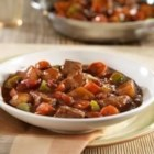 Heartwarming Beef Stew Skillet - Tender beef sirloin steak and vegetables in a creamy tomato gravy.