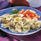 Creamy Pesto Chicken and Bow Ties - Use Campbell's(R) Condensed Cream of Chicken Soup, chicken breast, and bow tie pasta to make an easy one-dish meal with a creamy pesto sauce.