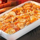 Root Vegetable Gratin - Layers of winter squash, potatoes, celeriac and leeks bake to perfection in a delicious sauce featuring Swanson(R) Vegetable Broth, heavy cream, fresh thyme and nutmeg.