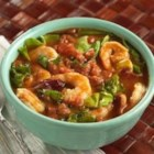 Cajun Shrimp and Greens Soup - Seven lettuces are cooked into this soup at the end, leaving their colors bold and dark.