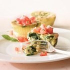 Mini Florentine Frittatas - Eggs and Real Cream are a perfect pairing for a quick weeknight dinner. While the frittatas are baking, make the fresh bruschetta topping, toss a side salad and dinner is ready!