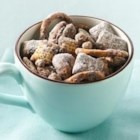 Chocolate Coffee Toffee Chex(R) Mix - Toffee bits, crunchy Chex(r) cereal, pretzels and pecans are mixed with a chocolate and coffee mixture, then topped with powdered sugar for this special and sweet snack mix.