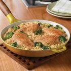 Campbell's(R) Quick and Easy Chicken, Broccoli and Brown Rice Dinner - This easy skillet supper features chicken, broccoli and brown rice simmering in a creamy gravy made with Campbell's(R) Condensed Cream of Chicken Soup