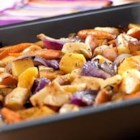 Oven-Roasted Root Vegetables - Rutabaga, parsnips, onion, garlic, celery root, carrots and potatoes roast to sweet tenderness in savory Swanson(R) Vegetable Broth and aromatic herbs.