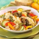 Roasted Spring Vegetable Risotto - Creamy risotto and a colorful array of tender spring vegetables are cooked to perfection in Swanson(R) Vegetable Broth, then mixed with Parmesan cheese for a flavorful side dish.