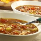 Swanson(R) Roasted Tomato and Barley Soup - Roasted tomatoes, onion and garlic simmer together with tender barley, celery and Swanson(R) Chicken Broth to make a robust, rustic-style soup.