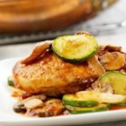 Wild Mushroom Chicken Balsamico - This elegant skillet supper features sauteed chicken, zucchini, onion and garlic in Prego(R)Marinara Pasta Sauce seasoned with a touch of balsamic vinegar.