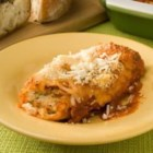 Three Cheese Manicotti II - Manicotti shells are baked with ricotta, mozzarella, and Parmesan cheeses.