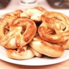 Soft Pretzels I - Like bagels, these big doughy pretzels are first boiled and then baked.  Sprinkle with coarse salt for the authentic look and taste.