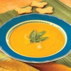 Butternut Squash Soup with Sage - Swanson(R) Chicken Broth is mixed with sauteed golden squash, sweet apples, onions and seasonings for a silky-smooth soup that is decorated with fried sage leaves.