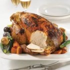 Maille(R) Honey Dijon Chicken - This whole-roasted chicken is tender and moist when braised with honey mustard, cider vinegar, and lemon juice.