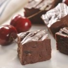 Dark Chocolate Cherry Fudge - This rich, dark chocolate fudge is sweetened with mini marshmallows and loaded with chunks of dried cherries.