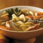 Sensational Chicken Noodle Soup - Perfectly seasoned Swanson(R) Chicken Broth, cubed chicken, carrots, celery and noodles combine for a hearty, wholesome soup.