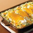 Campbell's(R) Cheesy Chicken and Rice Casserole - So many favorite flavors and ingredients--chicken, Cheddar cheese, and vegetables--are in this one easy casserole.