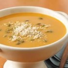 Roasted Butternut Squash Soup - Here's a rich soup for an autumn day--winter squash is roasted and pureed and blended into a creamy broth  seasoned with cinnamon and roasted coriander.