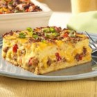 Jimmy Dean Breakfast Casserole - Breakfast is a breeze with this all in one breakfast casserole that has sausage, eggs, cheese, bread.  If you like, add tomatoes and mushrooms too!
