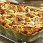 "French Onion Turkey Casserole - Use up your leftovers to make this savory ""bread pudding""...it's so simple to make, and so tasty. You'll enjoy making it for brunches, light dinners, and anytime you're in the mood for really good food."