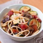 Tuscan Pasta - Fresh garden vegetables and pasta are tossed with a chunky tomato sauce with zesty herbs to create a healthy feast that's low on salt and fat and high on flavor.
