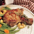 Peanut Butter and Apple Stuffed Pork Chops - Here's a savory variation on stuffed pork chops -- apples, bread crumbs, and a bit of peanut butter combine for a rich flavor under a sweet apple glaze.