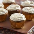 Harvest Pumpkin Cupcakes - Rich and spicy pumpkin cupcakes with orange cream cheese frosting!