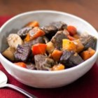 Beef Stew with Roasted Winter Vegetables - Seasonal vegetables, strong flavors and ingredients that are both lean and low in salt make for a delicious twist on a traditional winter meal.