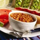 "Stovetop ""Baked"" Beans - Baked beans are flavored with bacon and onion, then slowly simmered in a sweet-and-savory sauce."
