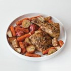 Herbes de Provence Roasted Chicken and Potatoes - Aromatic Herbes de Provence seasons chicken, potatoes and carrots before roasting. This dish is so easy to prepare that you'll be adding it to your rotation of family dinner recipes.