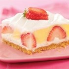 Berried Delight - Chunks of fresh strawberries are hidden between layers of whipped cream cheese and smooth vanilla pudding.